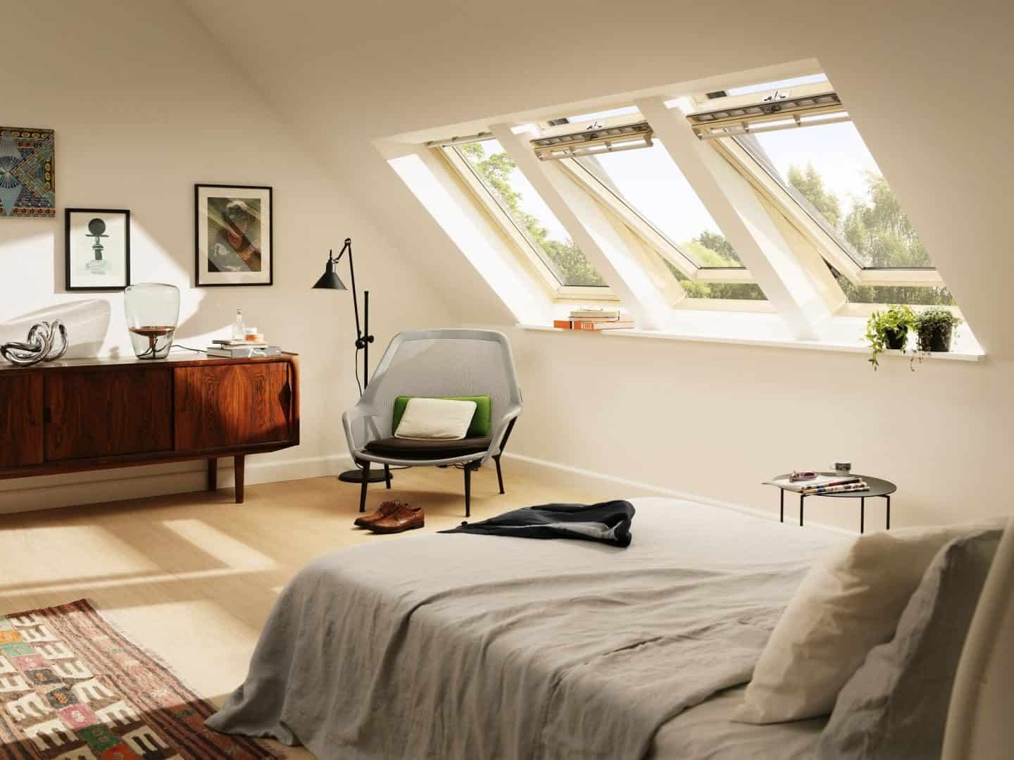Loft Conversion featuring Velux centre pivot windows