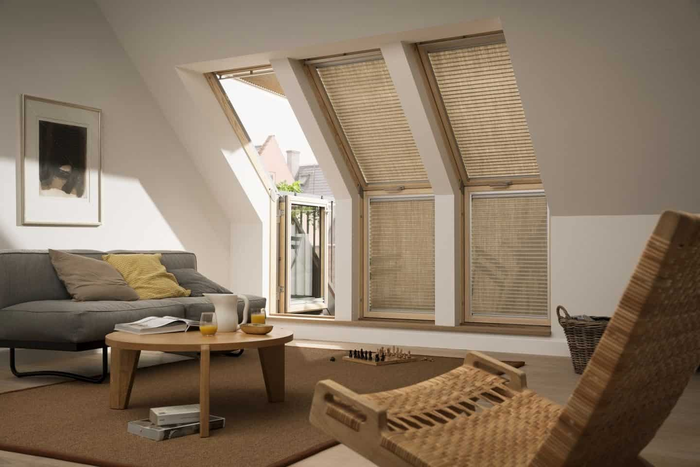 Loft Conversion - living Room - Velux Terrace windows with Blinds