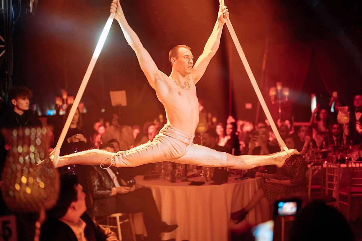 Vuelio Blog Awards 2018 at the Bloomsbury Big Top - acrobats dangling from the ceiling