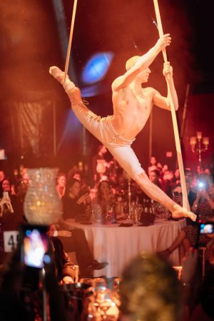 Vuelio Blog Awards 2018 at the Bloomsbury Big Top - Acrobats hanging from the ceiling
