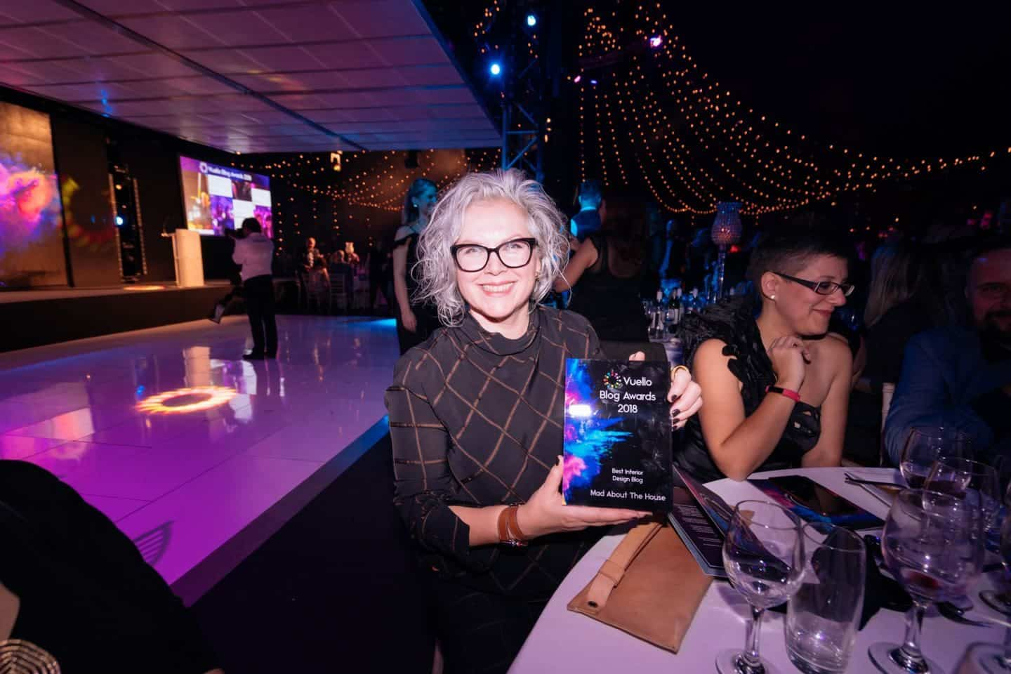 Vuelio Blog Awards 2018 at the Bloomsbury Big Top - winner Kate Watson-Smyth with her award