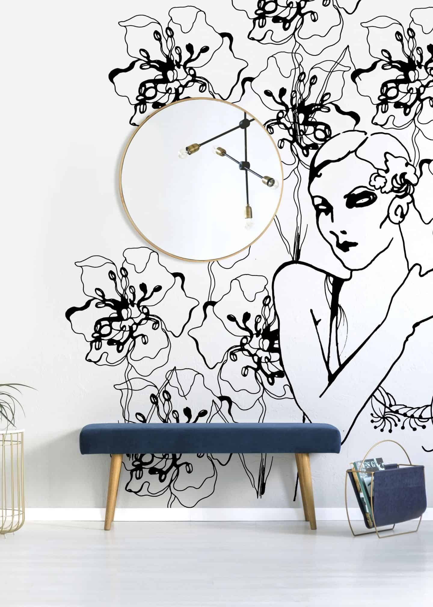 1920s fashion, a black and white fashion illustration by Stina Wirsén available as a illustrated wallpaper from Photowall.