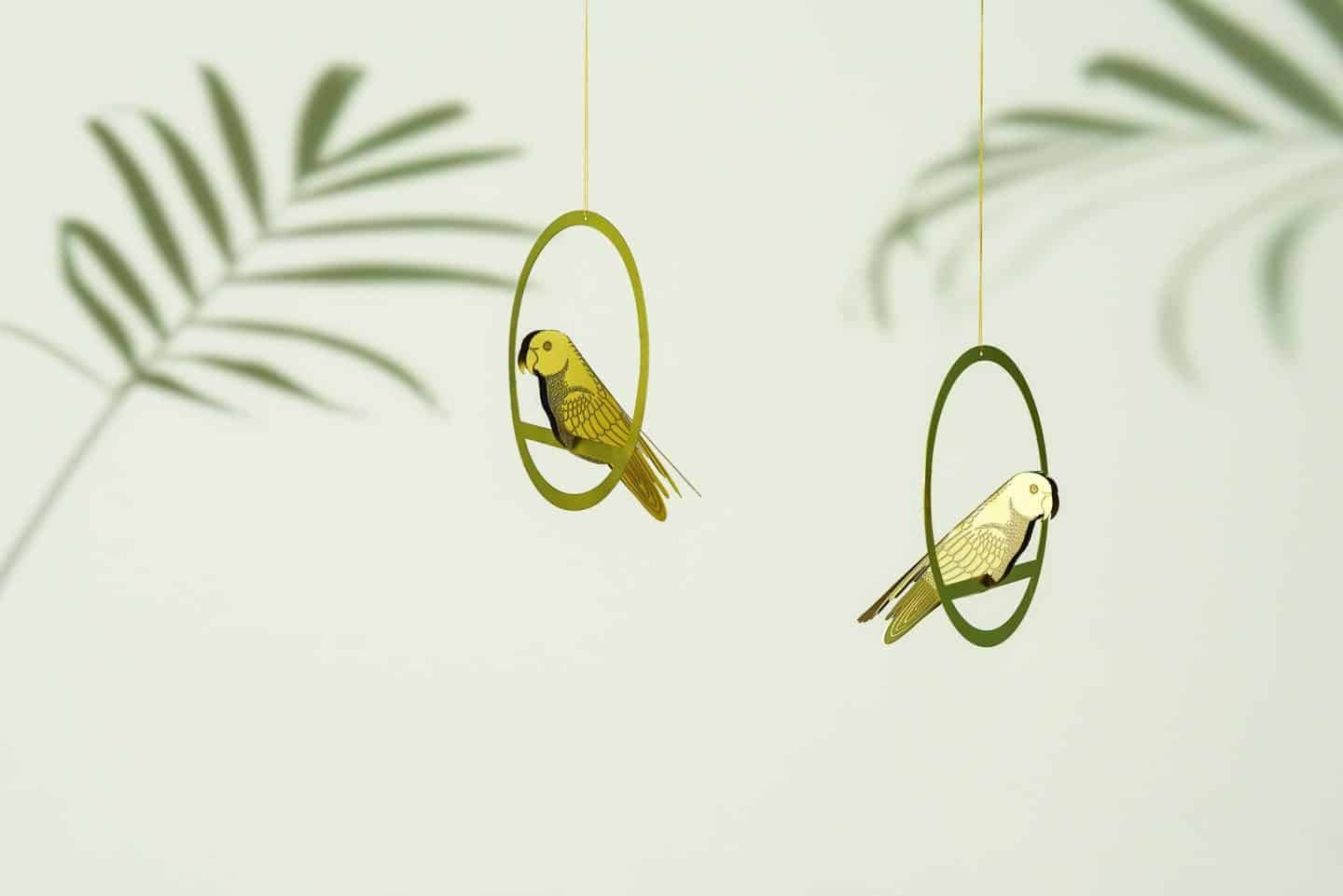 Gifts for plant lovers. These hanging brass bird decorations are from Another Studio
