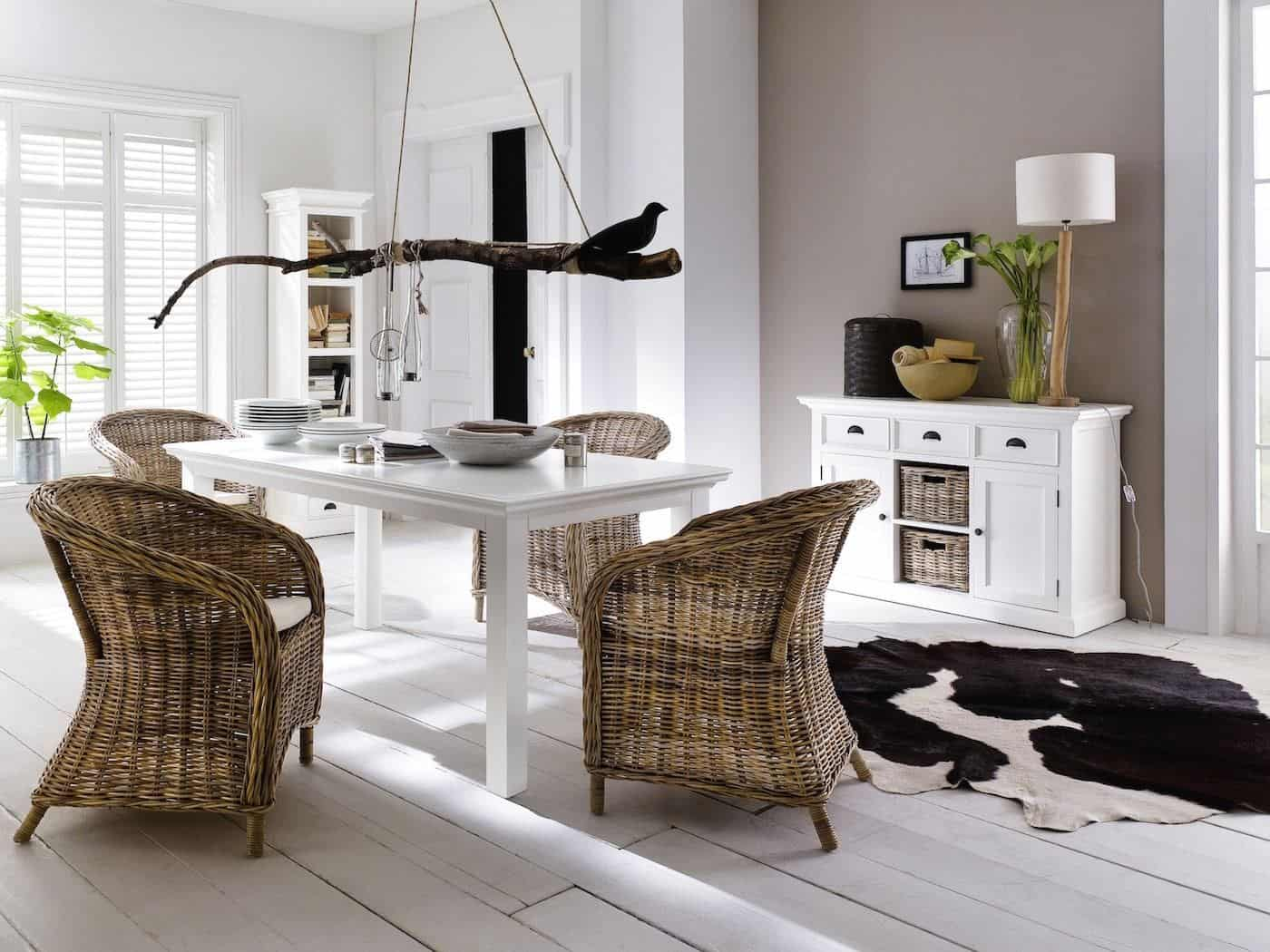 New Nordic interior featuring white furniture, rattan furniture neutral walls and rattan baskets. Furniture from the Halifax range from Novasolo