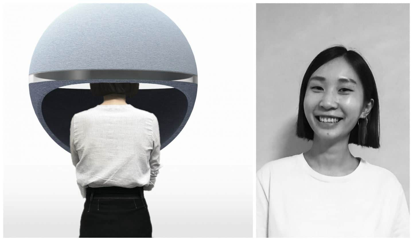 An acoustic sphere that you can pop your head inside to get privacy in public spaces. Designed by Rongjie Yang, it was presented at Pure Talents at Imm Cologne 2019