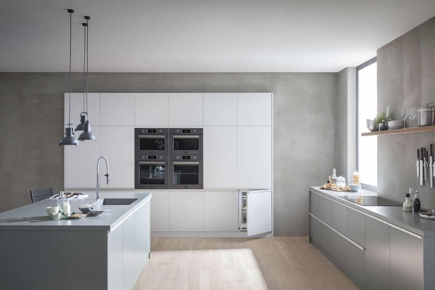 Bertazzoni's built-in appliance range shown in a minimal modern kitchen