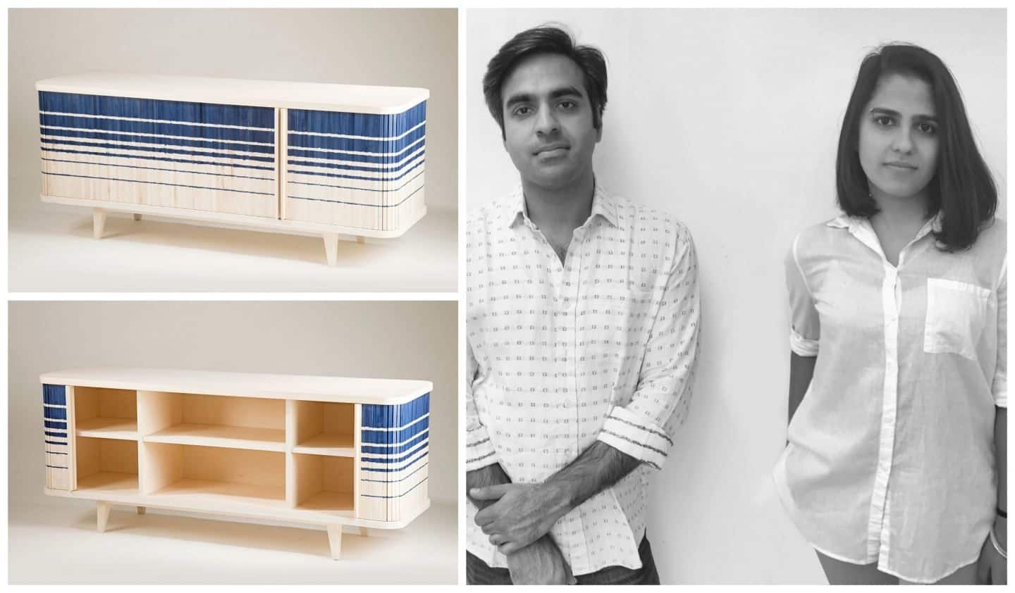 A storage unit that has a surface that has been inspired by Ikat fabrics designed by Indo-Manan Narang and Urvi Sharma from India. It was presented at Pure Talents at Imm Cologne 2019
