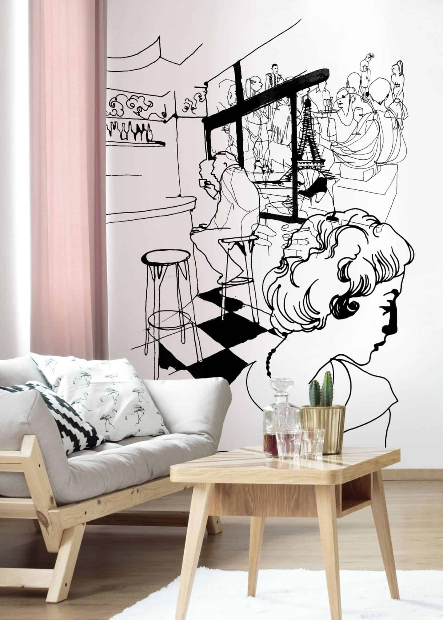 Coffee in Paris, a black and white travel-inspired illustration by Stina Wirsén available as a illustrated wallpaper from Photowall.