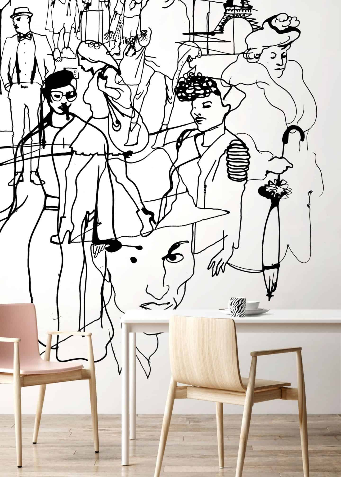 Paris, a black and white fashion illustration by Stina Wirsén available as a illustrated wallpaper from Photowall.