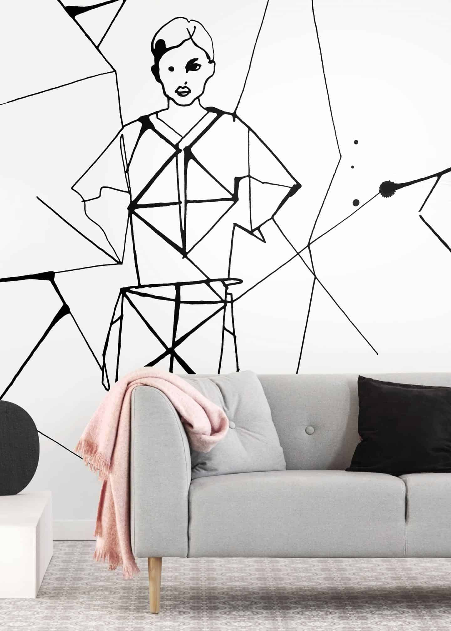 {Pleated Beauty, a black and white fashion illustration by Stina Wirsén available as a illustrated wallpaper from Photowall.