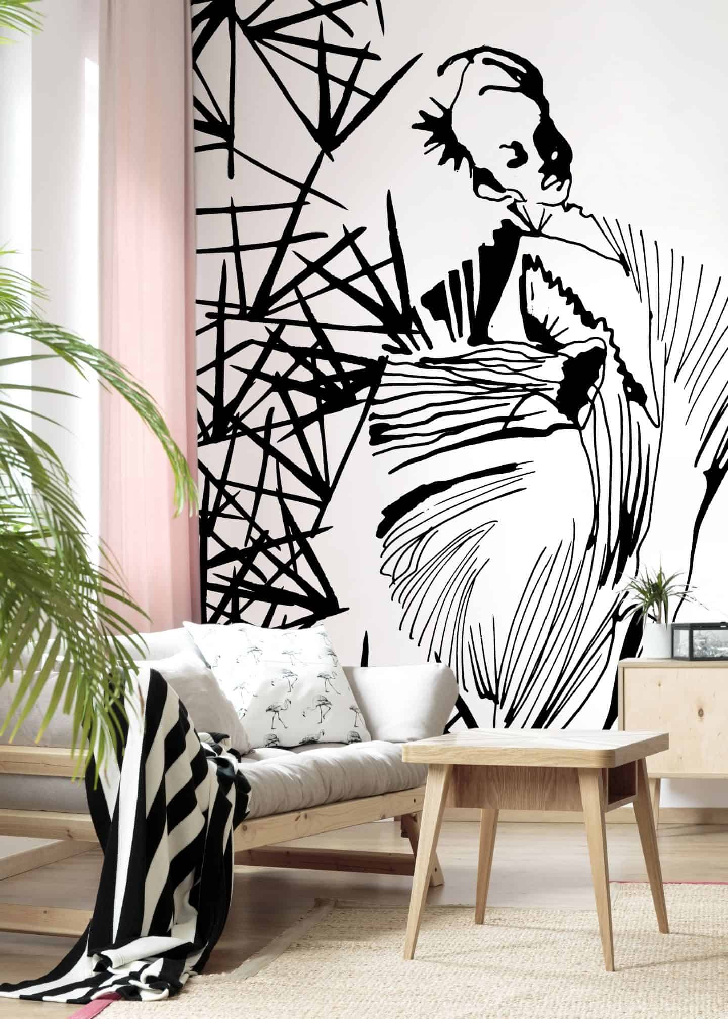 Pleated Beauty, a black and white fashion illustration by Stina Wirsén available as a illustrated wallpaper from Photowall.