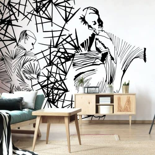 Pleated beauty black and white wall mural - fashion illustration by Stina Wirsen