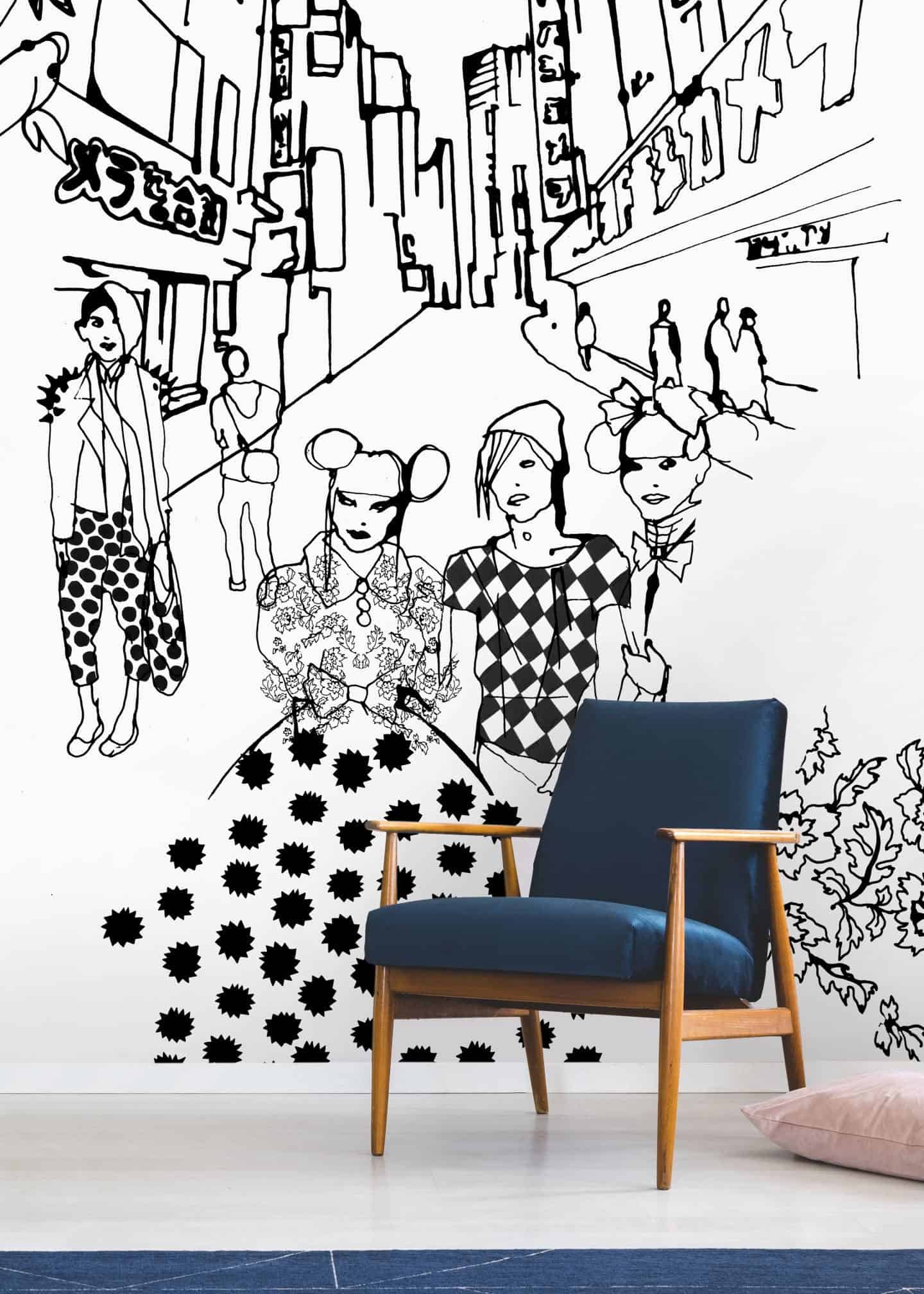 Tokyo, a black and white travel-inspired illustration by Stina Wirsén available as a illustrated wallpaper from Photowall.