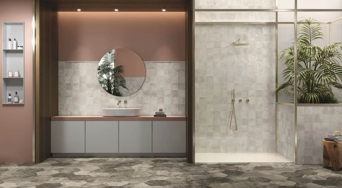 Amazonia botanical ceramic tiles in a contemporary bathroom