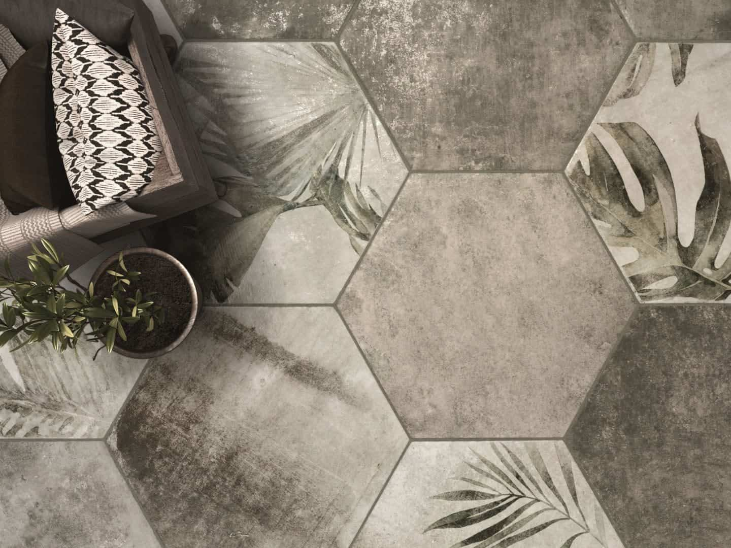 Amazonia botanical hexagon ceramic floor tiles