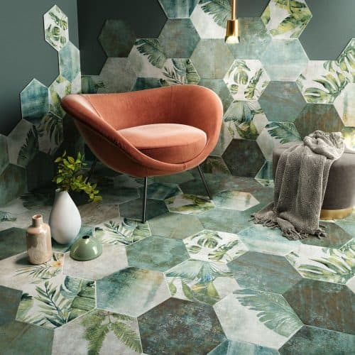 Amazonia botanical hexagon ceramic floor and wall tiles