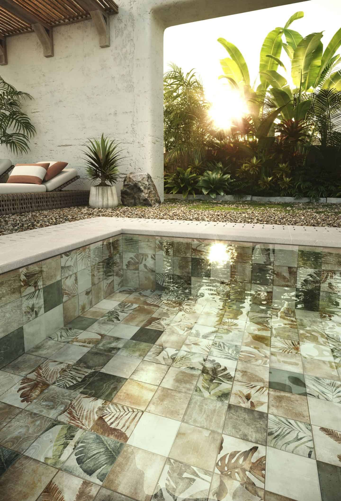 Amazonia botanical ceramic tiles used in a swimming pool