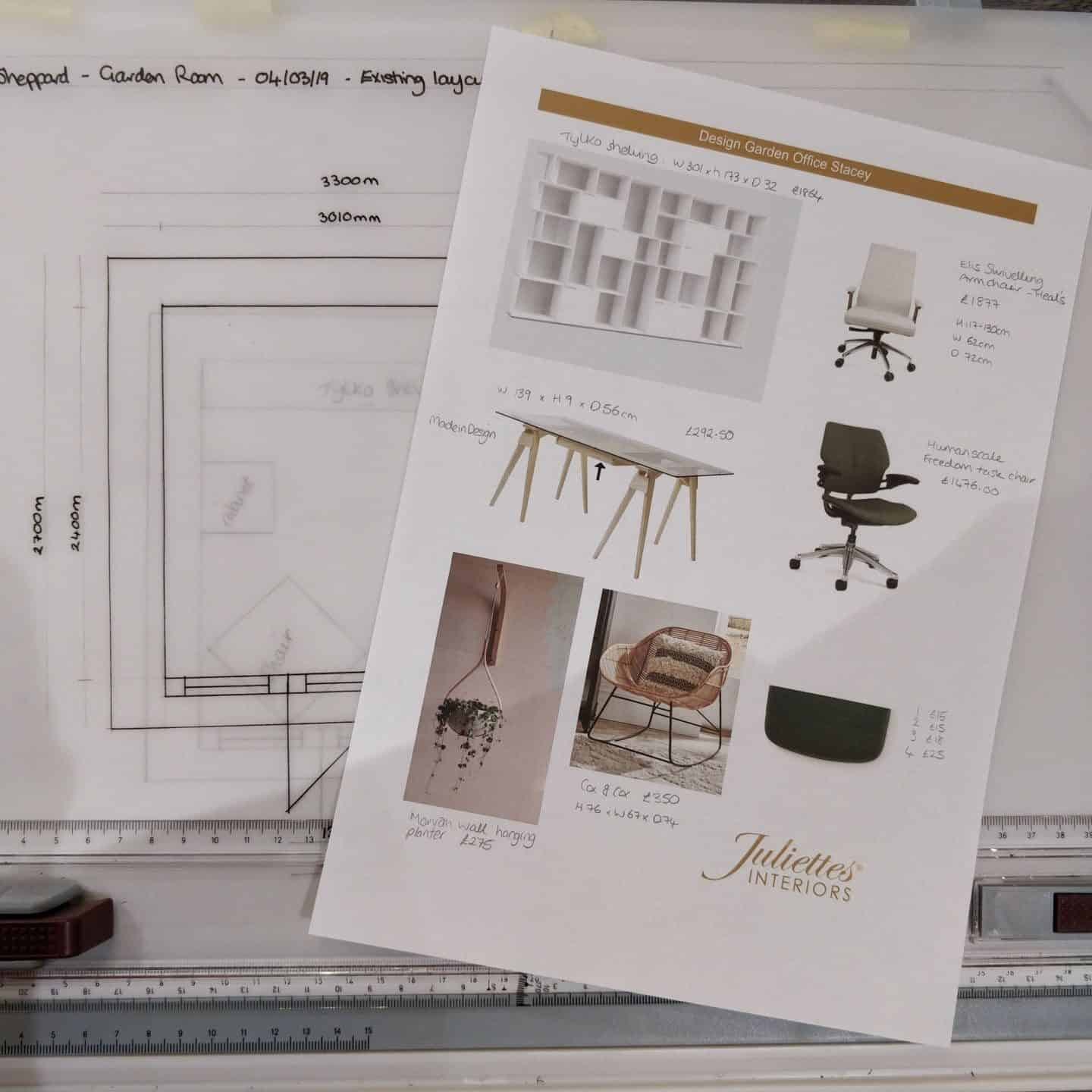 Selecting furniture for an interior design moodboard at Juliette's Interior Design School in London