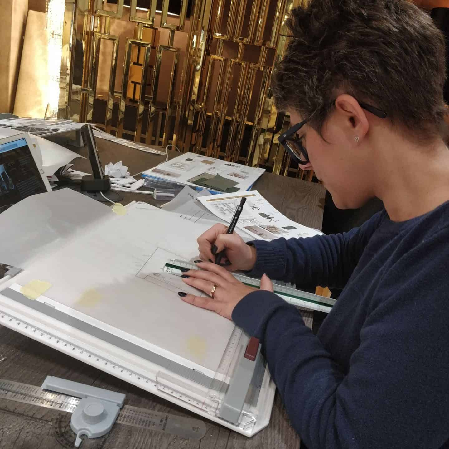 Technical drawing at Juliette's Interior Design School in London