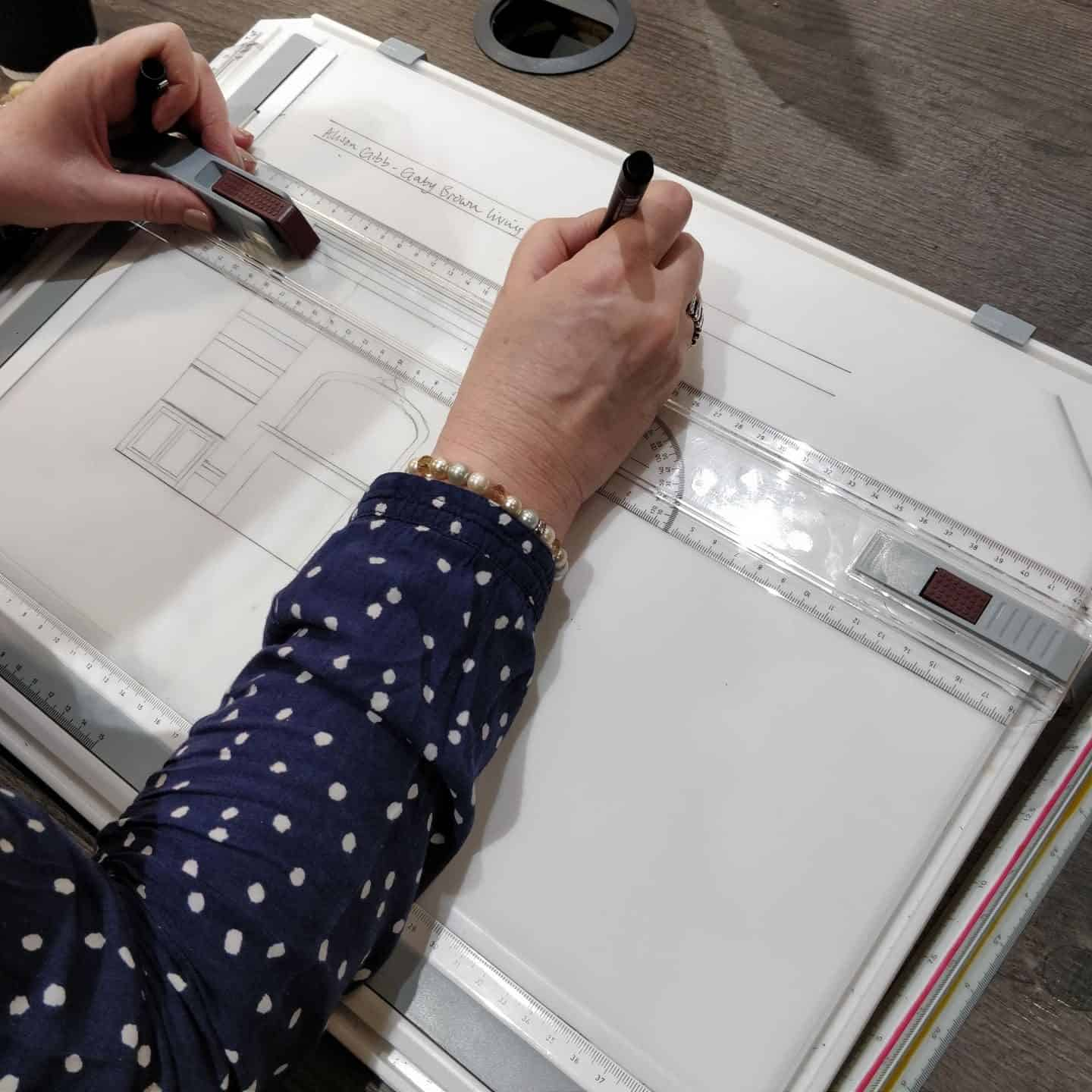 Technical scale drawings at Juliette's Interior Design School in London