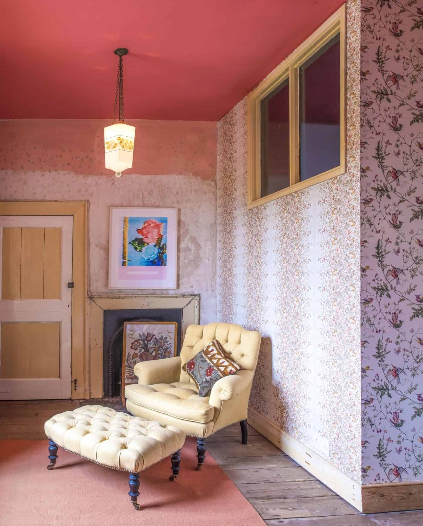 Image from the book Love Colour ©annastarmer - a floral wallpaper with plain traditional chair in front