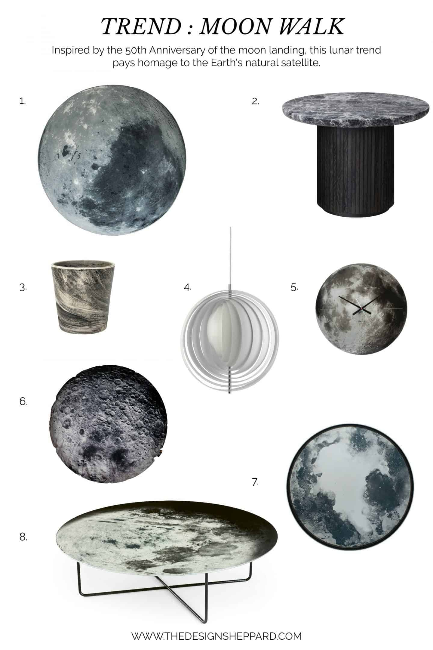 A selection of homeware products to achieve the moon trend in interior design