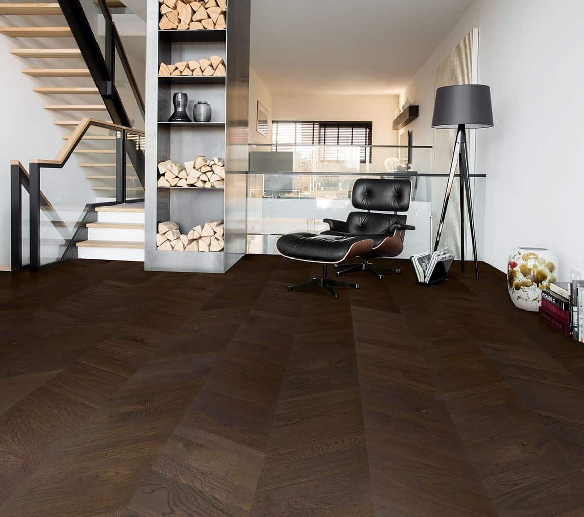 Flooring Trends - Quickstep flooring - dark chevron flooring planks