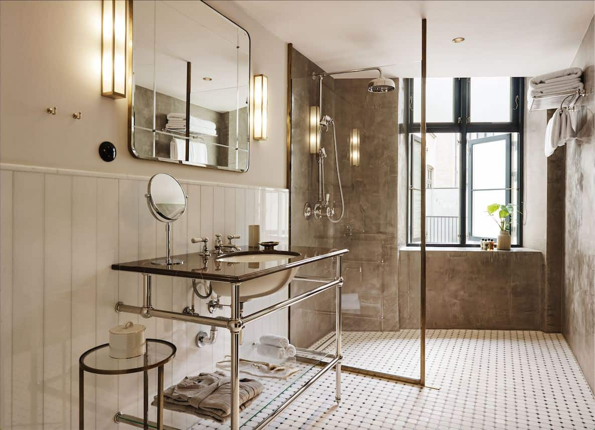 Sander Hotel, a design hotel in copenhagen. The bathrooms have a slightly industrial feel