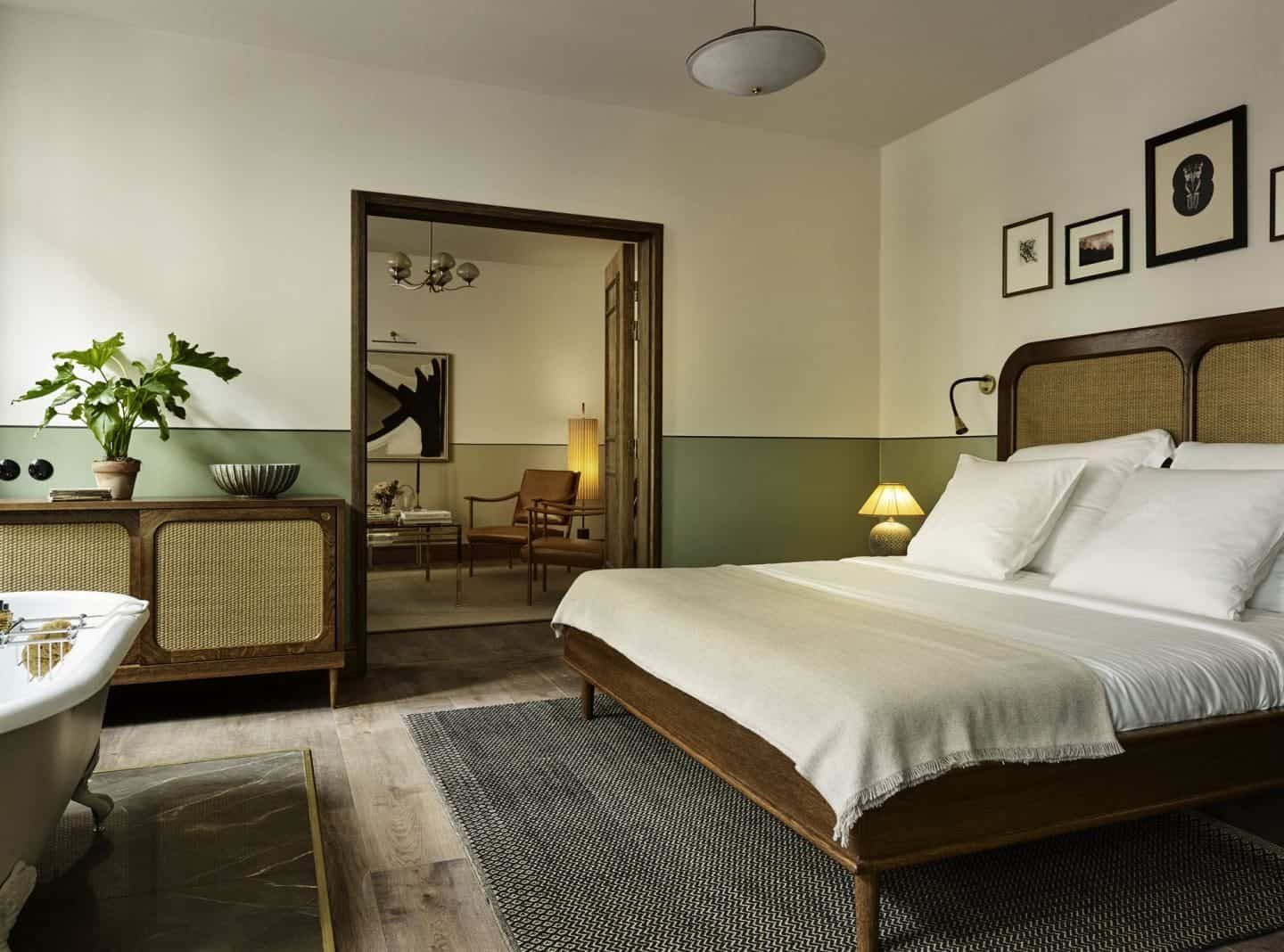 Sander Hotel, a design hotel in copenhagen. The bedrooms have a colonial influence and feature muted earthy colours and natural material