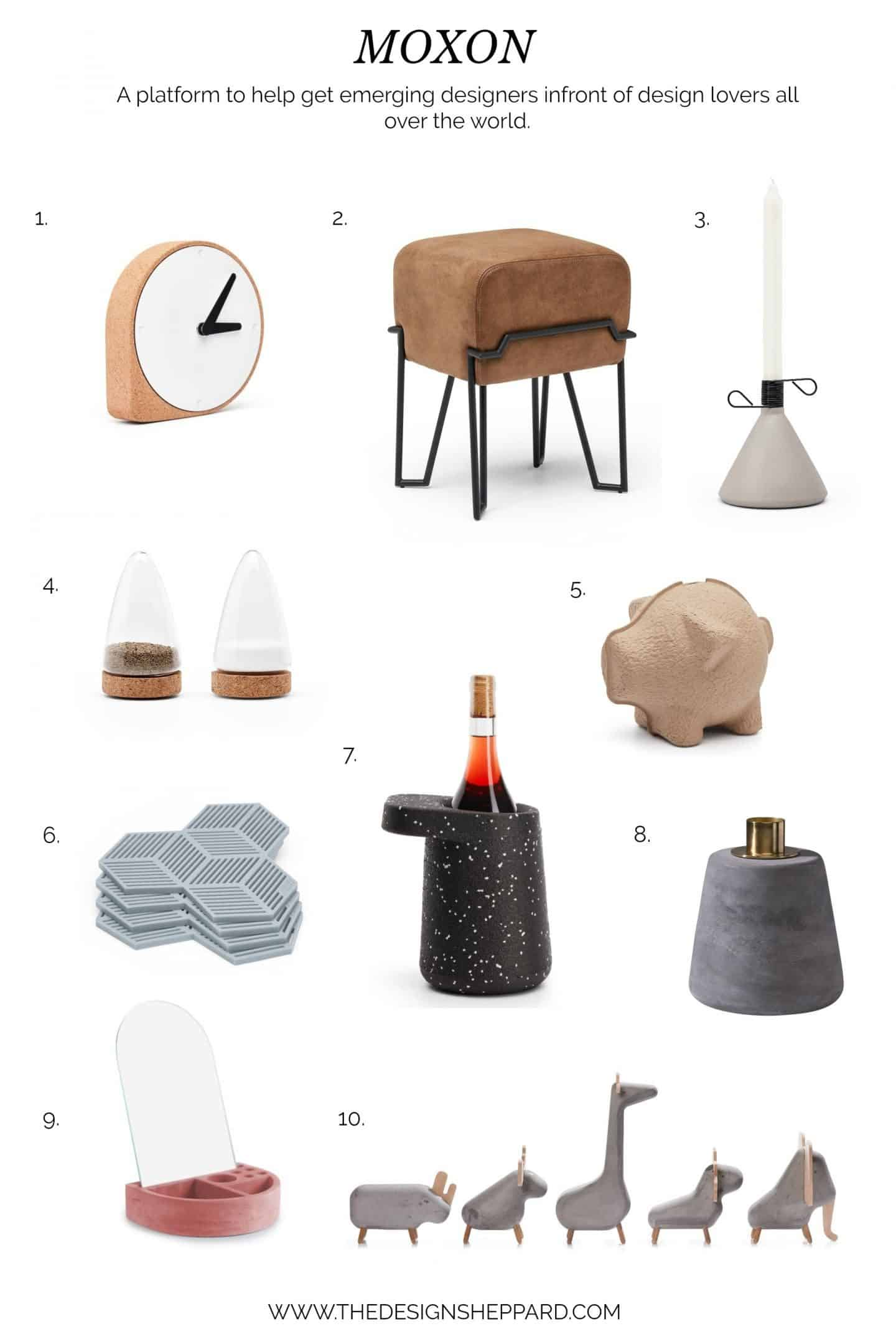 A selection of products from MOXON, an online store selling homewares and decorative accessories by emerging designers