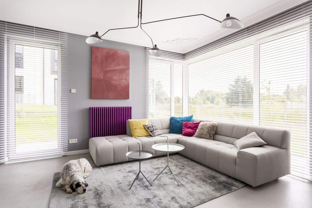 Radiator buying guide - living room featuring horizontal purple radiator