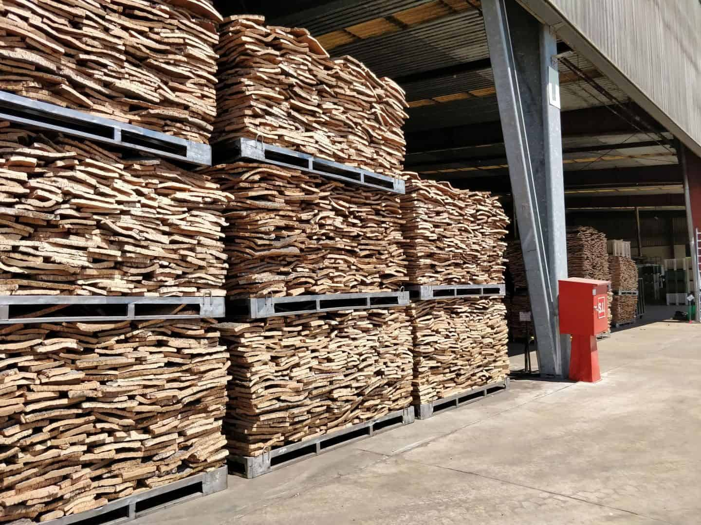 Cork is stored outside for 6 months to a year before it can be used in the cork production process