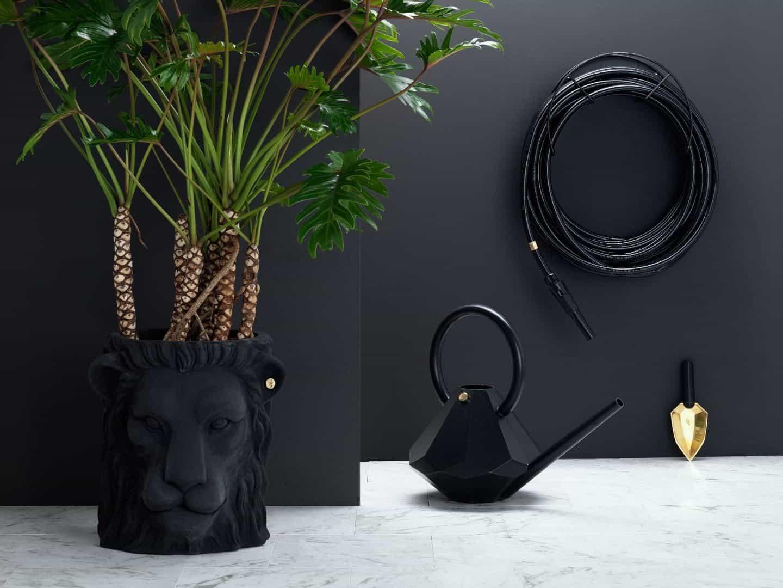 Garden Glory - Stylish garden equipment - black garden hose, watering can and lions head plant pot
