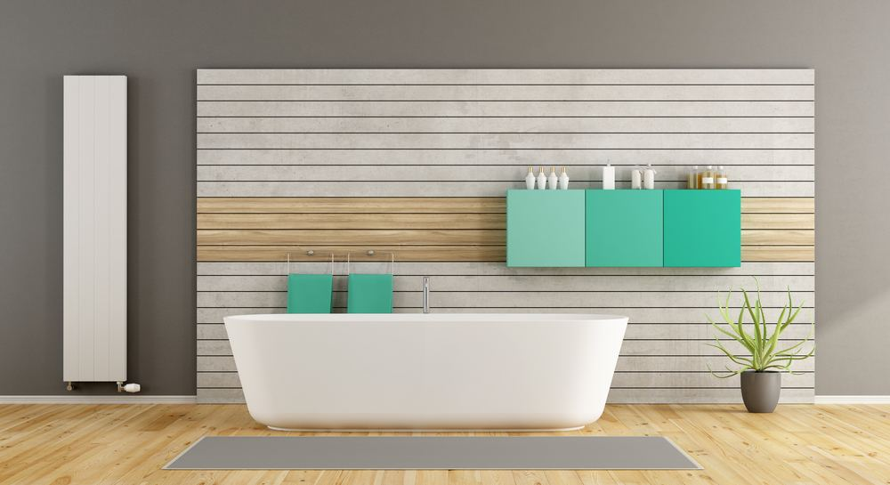 Radiator buying guide - bathroom featuring a flat panel vertical radiator