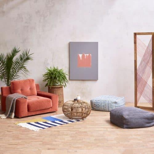 Camada cork flooring in a living room setting