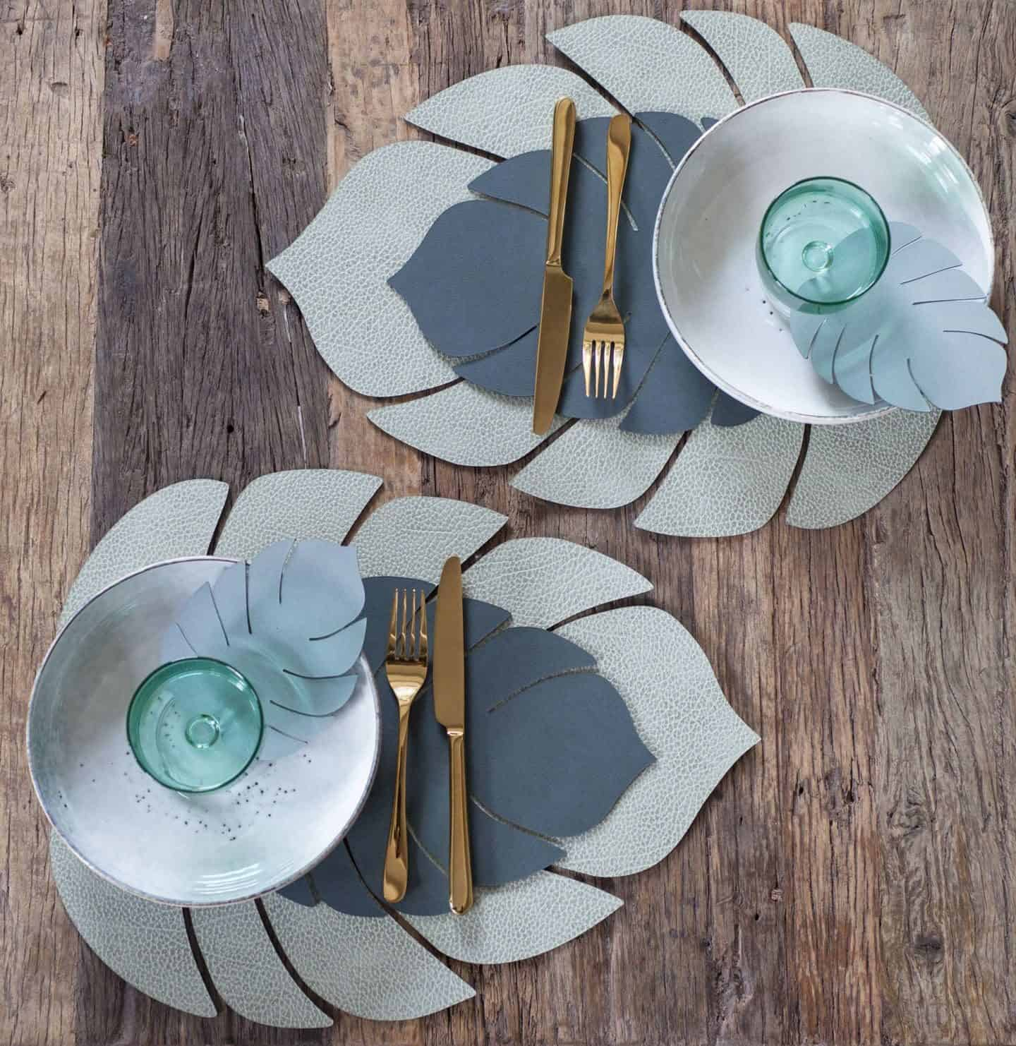 Green recycled leather made into Monstera leaf shaped placemats by LIND DNA