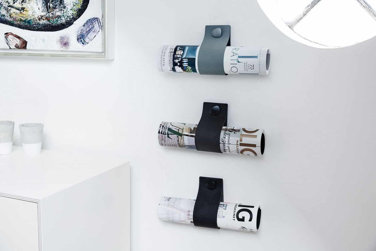 Recycled Leather strap magazine holders from LIND DNA