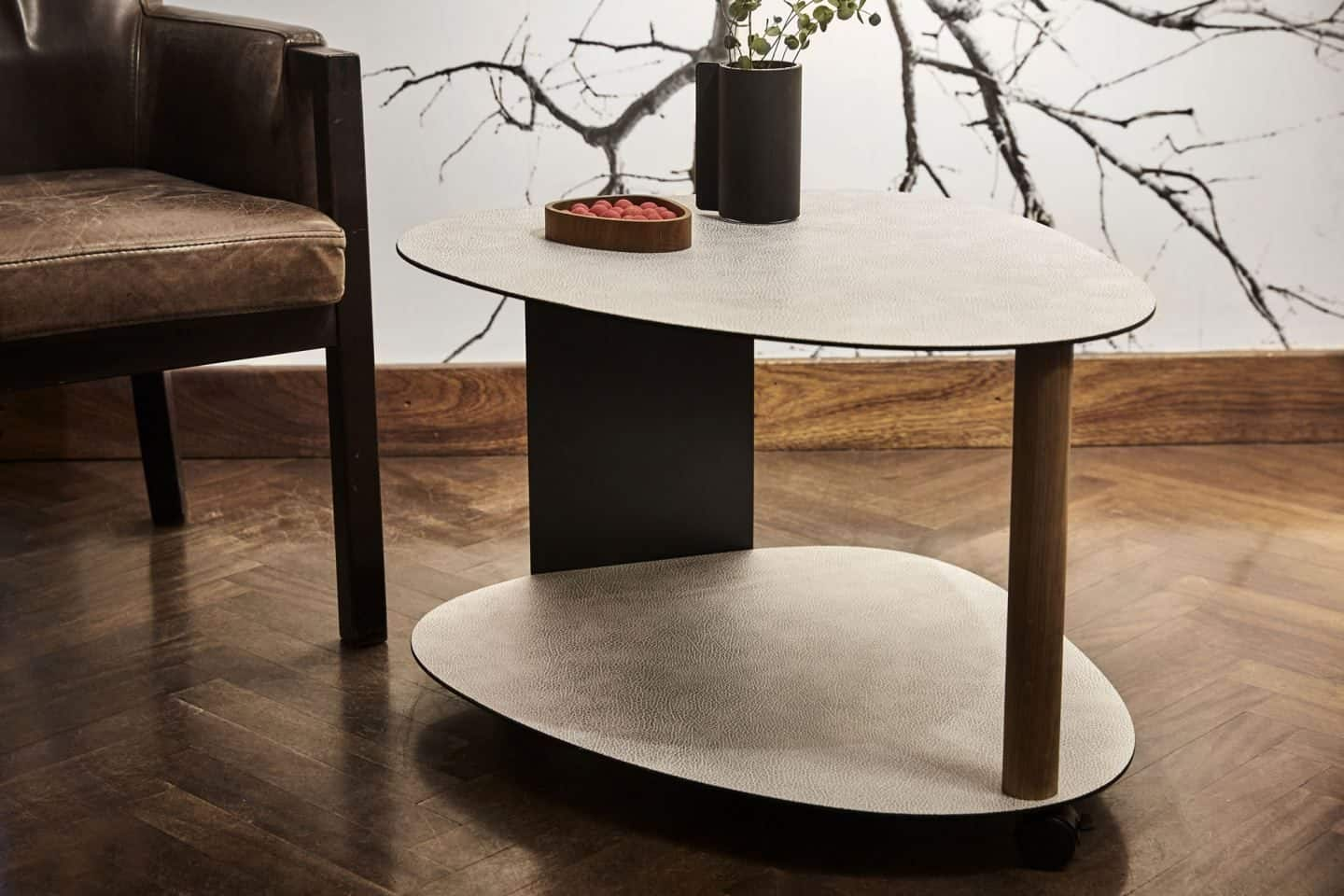 Recycled leather two-tier side table from LIND DNA