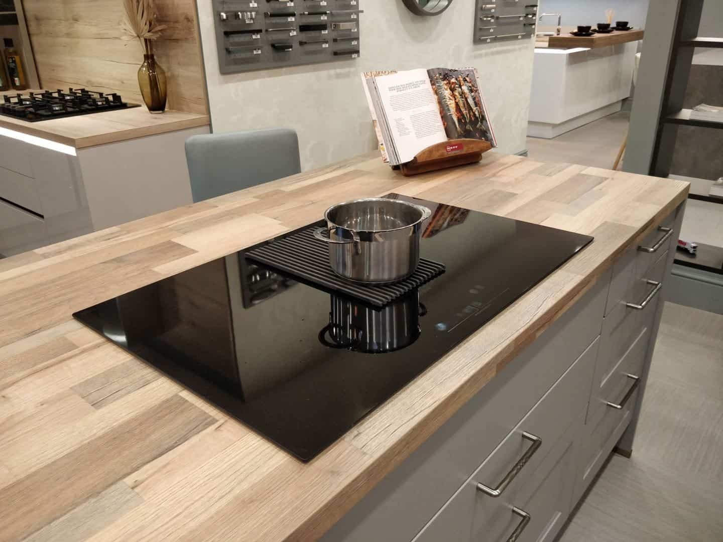 NikolaTesla Prime hob with integrated extractor from Elica on display in the Kitchen Kit showroom in Truro