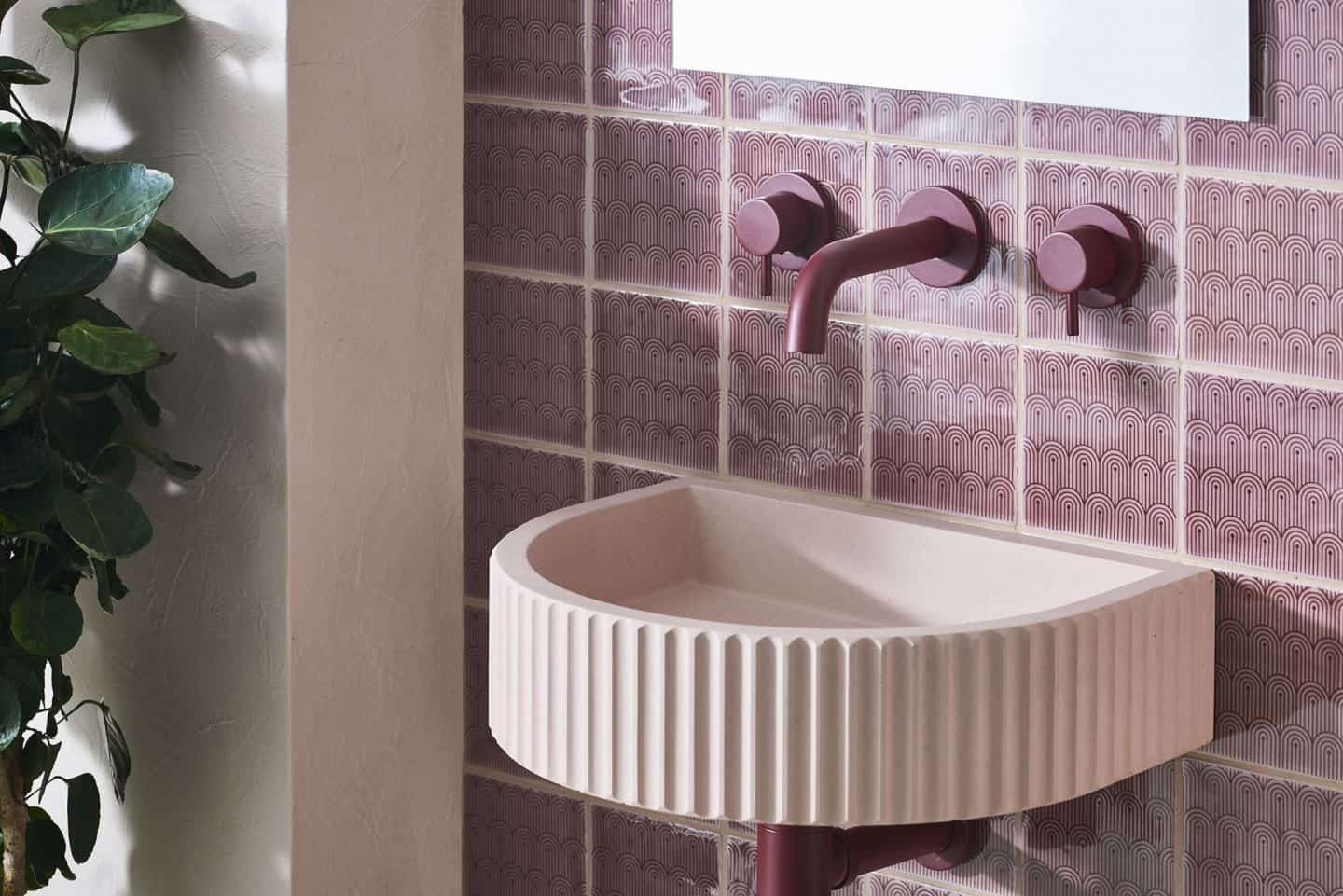 Original Style and 2LG Deco Tayberry Tile of the Year 2020 used as a bathroom backsplash with a Kast concrete basin