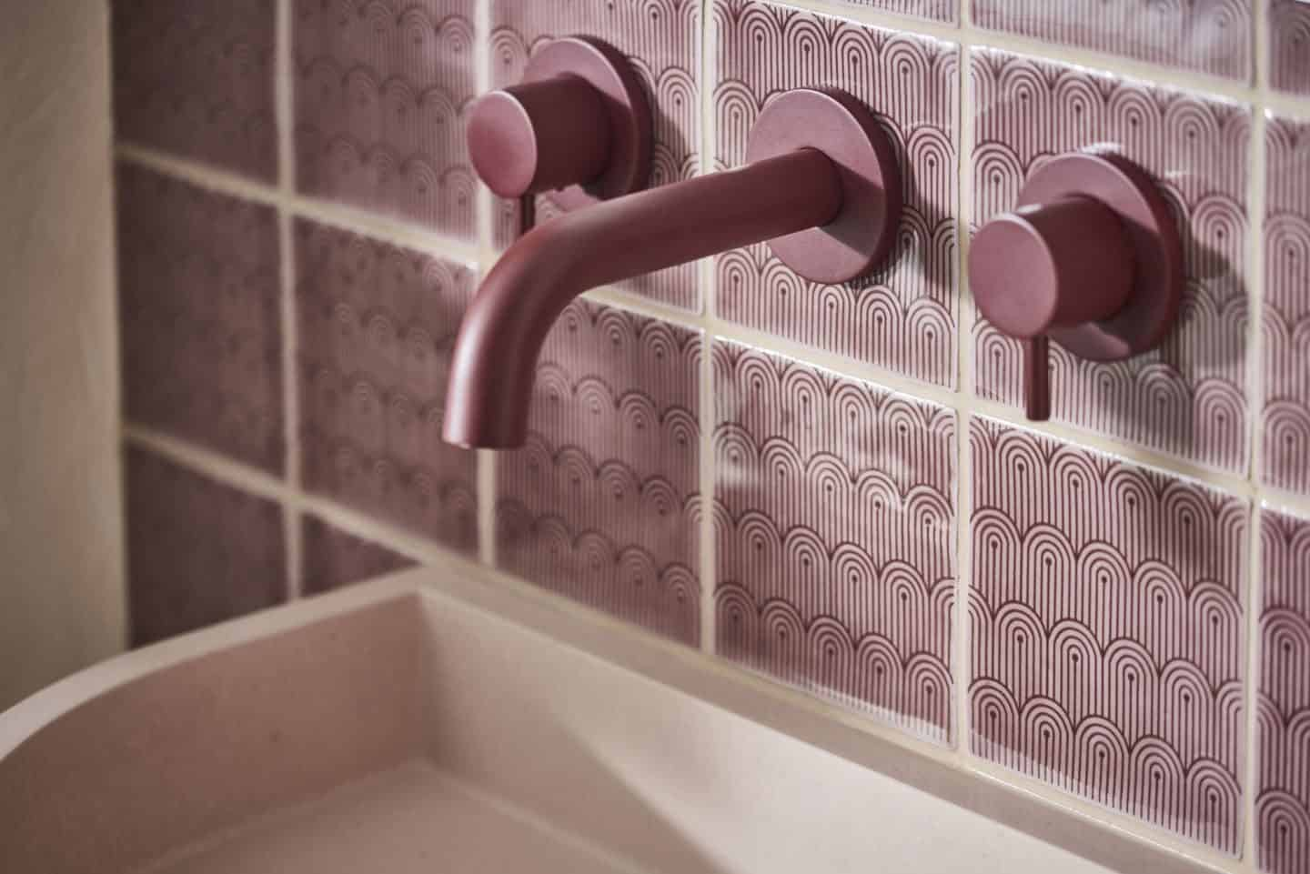 Original Style and 2LG Deco Tayberry Tile of the Year 2020 with berry coloured wall mounted bathroom tap