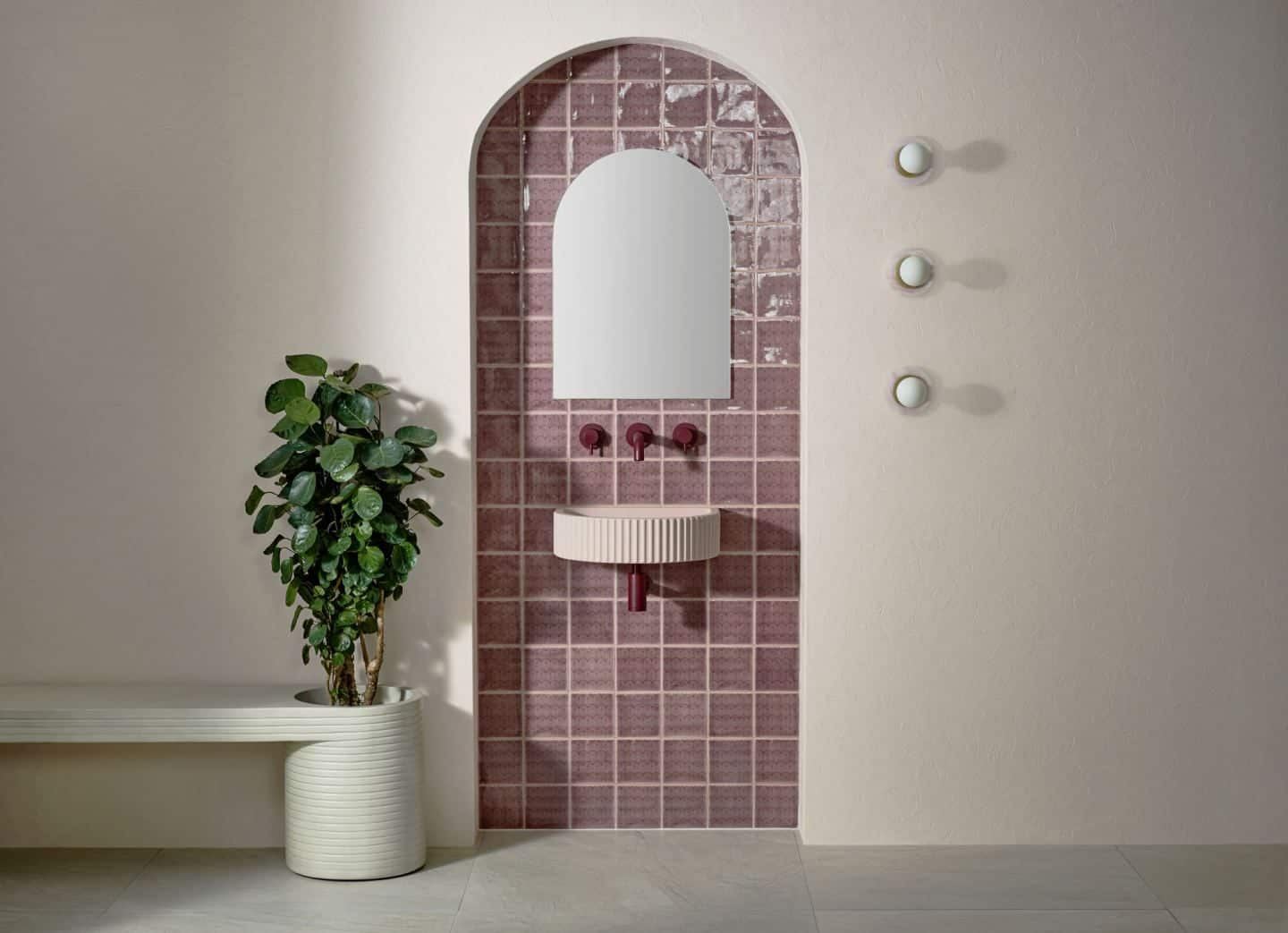 Original Style and 2LG Deco Tayberry Tile of the Year 2020 in a beautiful blush bathroom setting