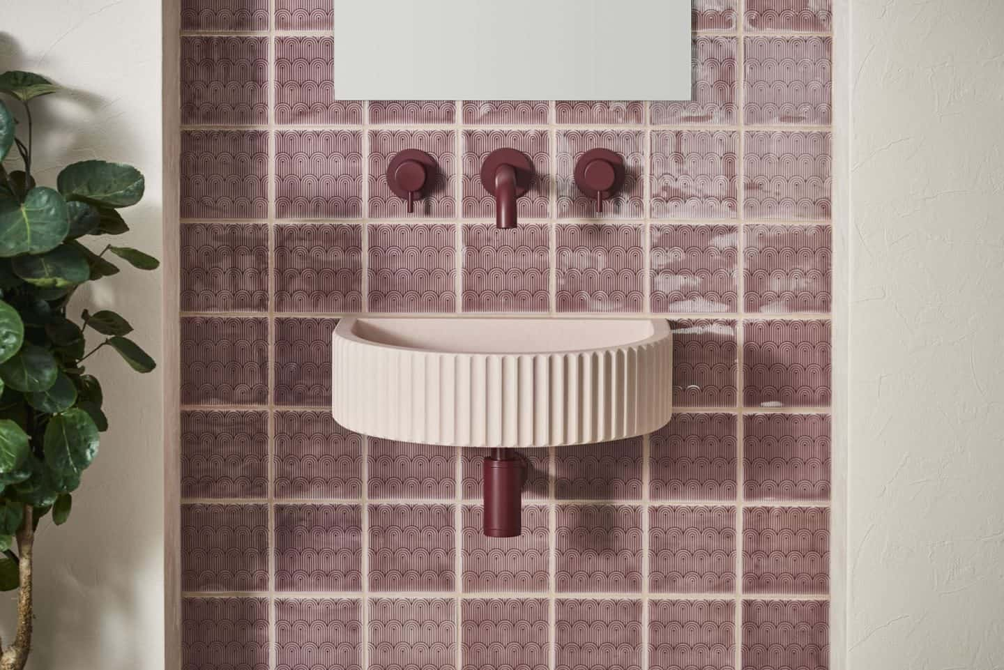Original Style and 2LG Deco Tayberry Tile of the Year 2020 provide the background for this beautiful blush concrete basin from Kast.