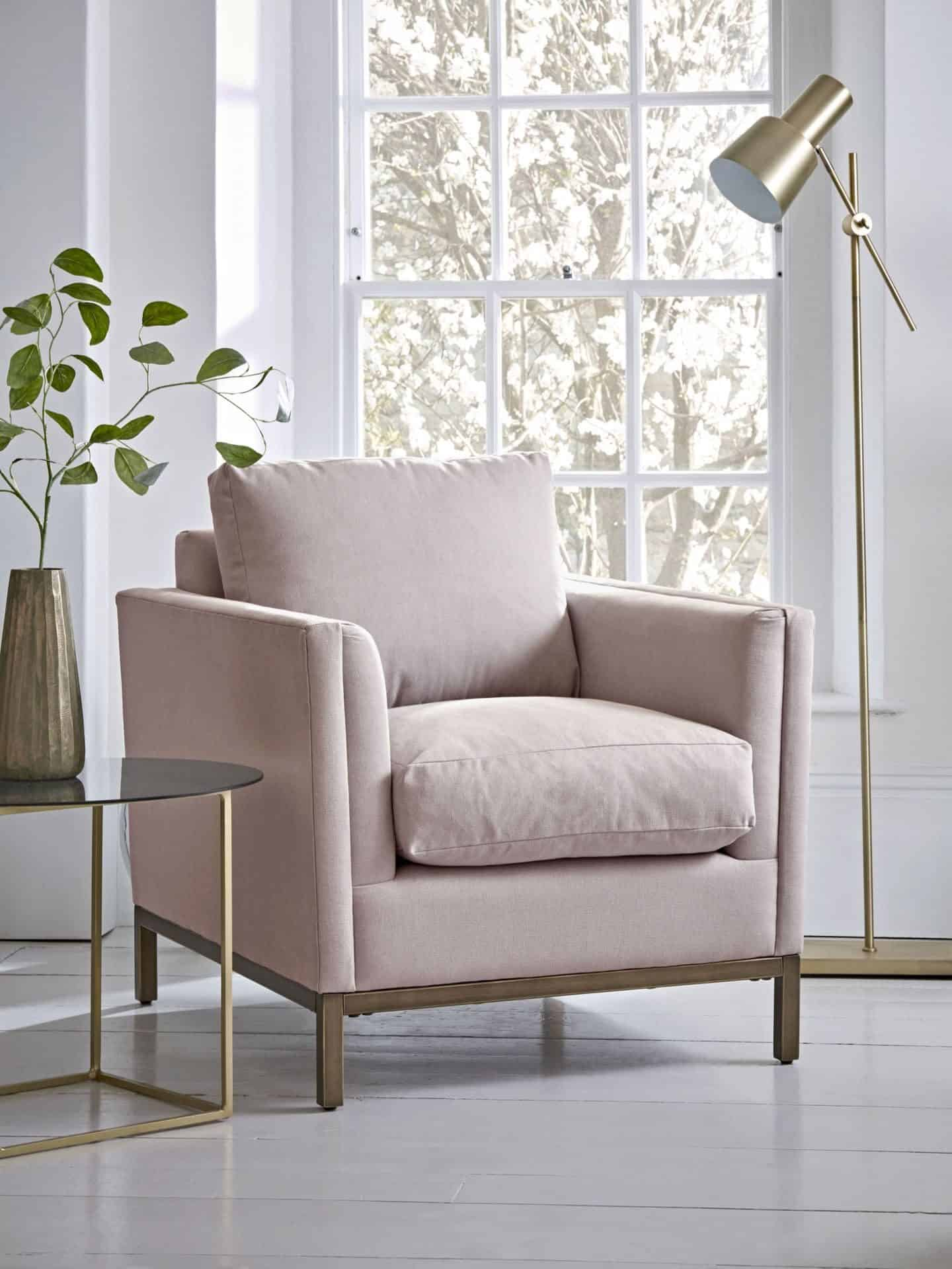 Pink armchair from Cox & Cox. Furniture can be found on furniture comparison website Kuldea
