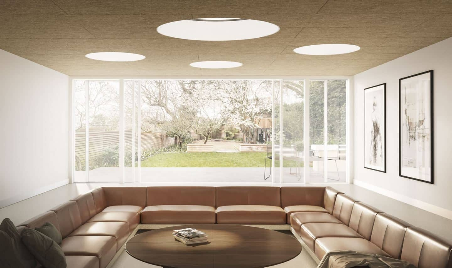 Vario by VELUX Bespoke Flat Roof Windows. The circular version pictured above a large sunken seating area