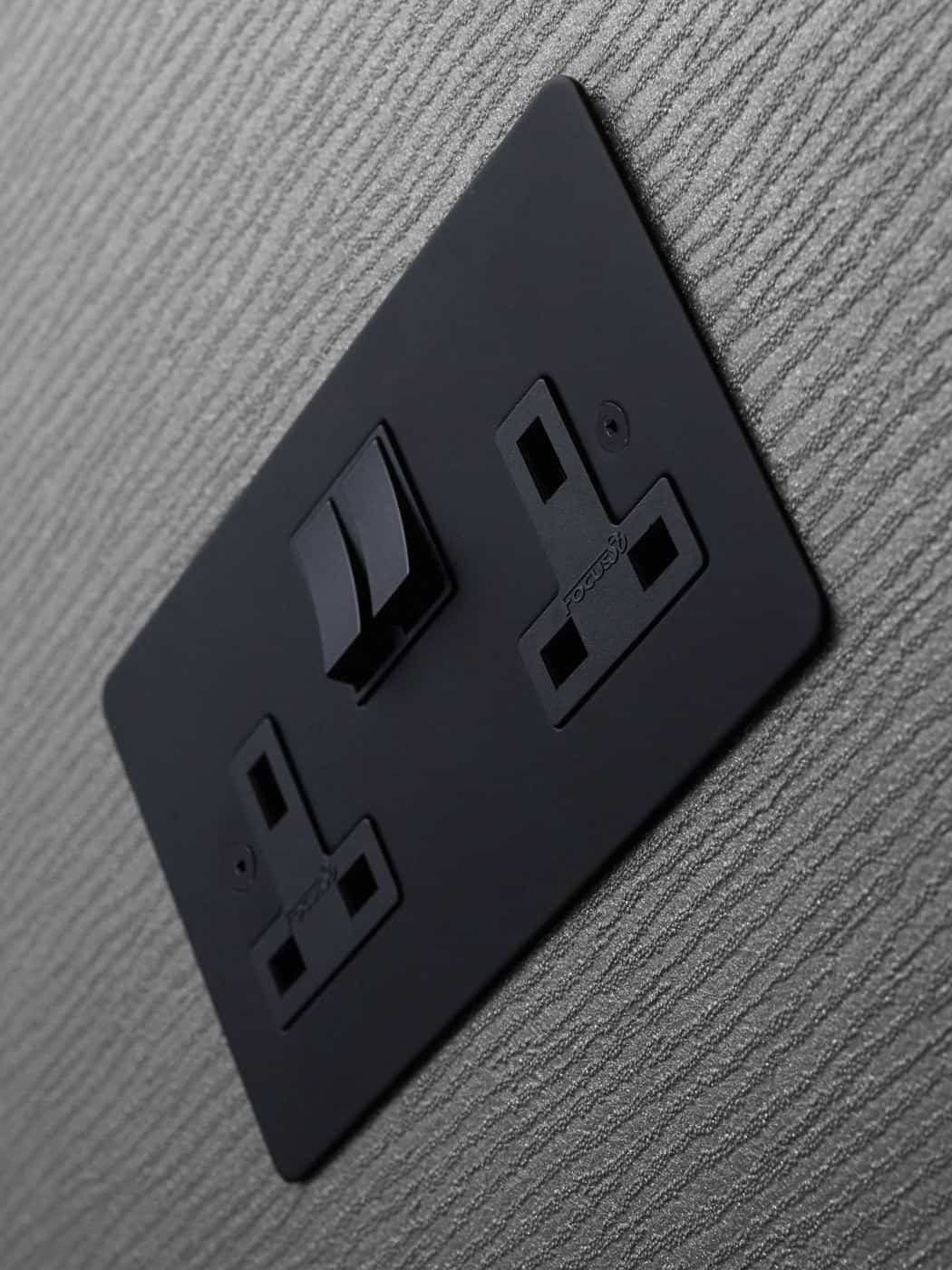 Designer Electrical Wiring Accessories from Focus SB - power socket in matt black