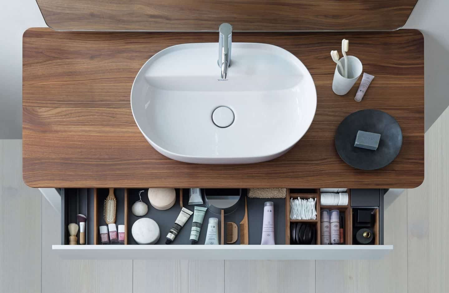 Ariel image of the bathroom basin from the Luv collection by luxury bathroom brand Duravit.