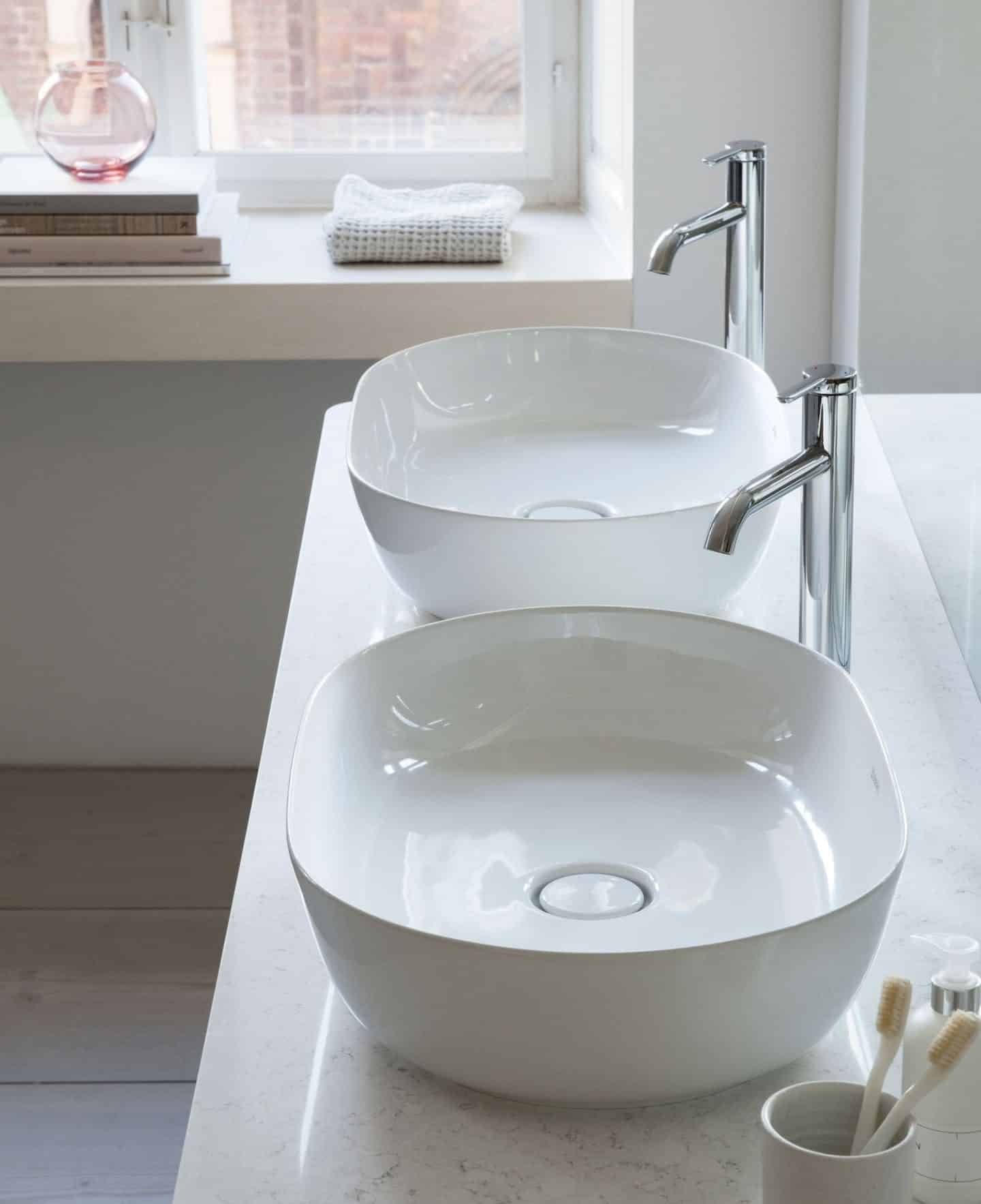His and hers basins from The Luv collection by luxury bathroom brand Duravit.