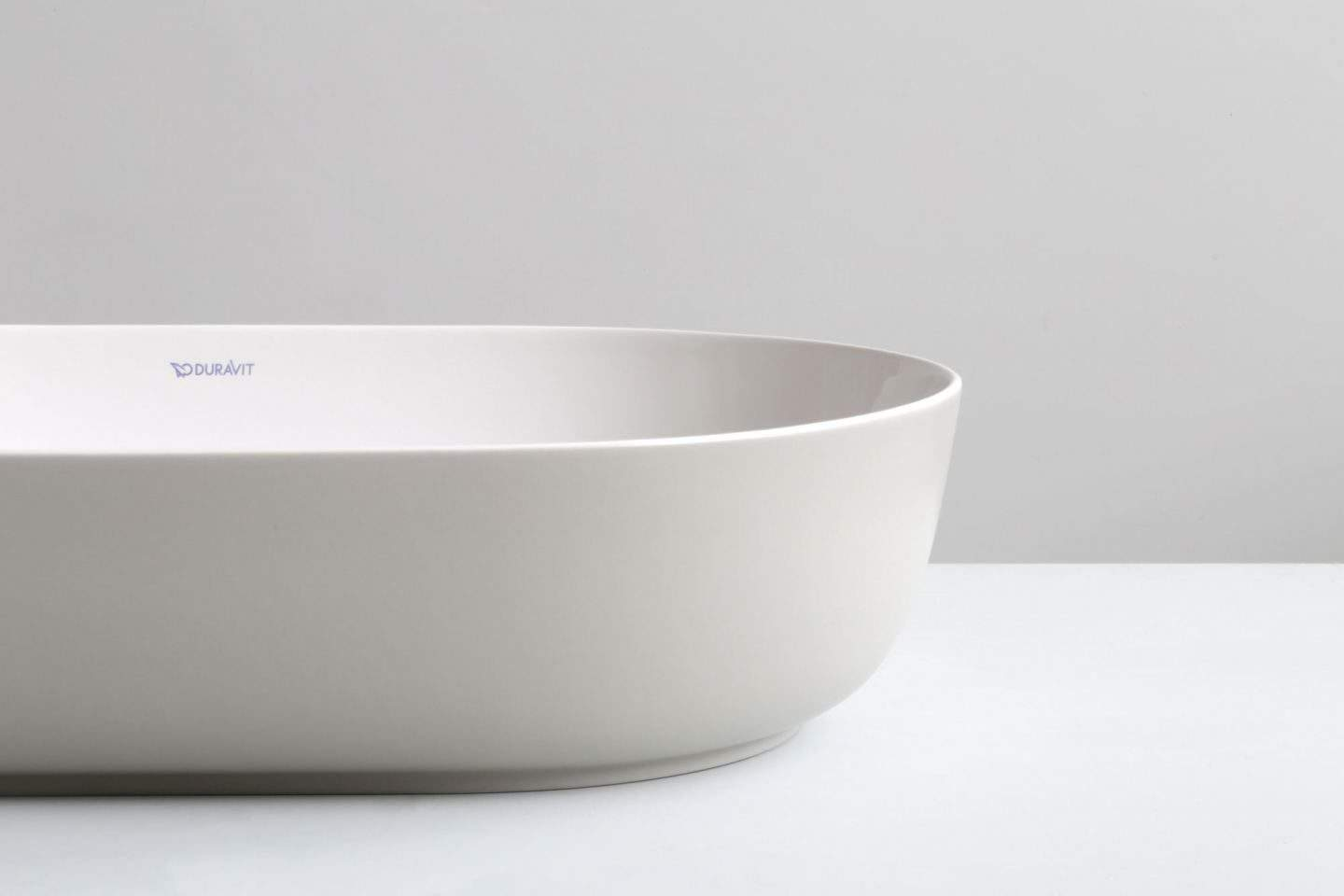 A close up of the basin from The Luv collection by luxury bathroom brand Duravit.