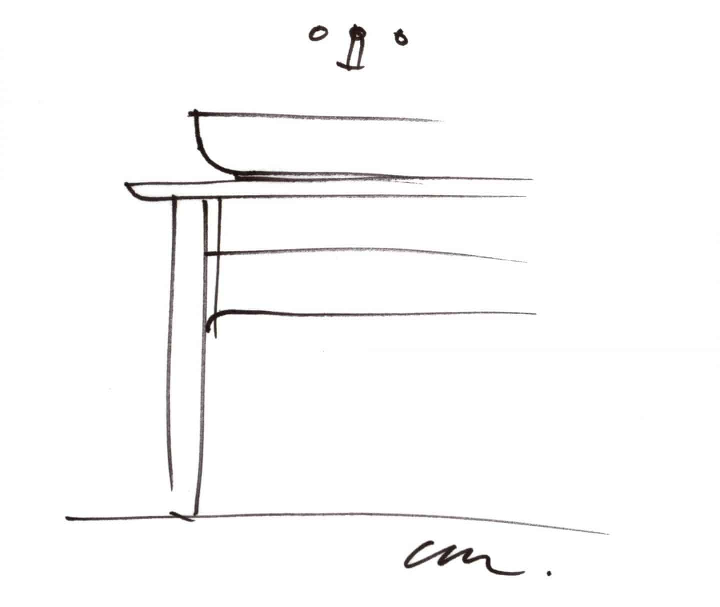 A sketch of the basin from The Luv collection by luxury bathroom brand Duravit.
